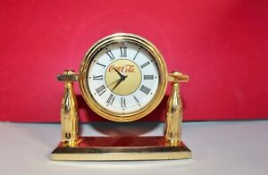 COCA COLA CLOCK 1998 HEAVY BRASS FOR DESK COCA COLA COMPANY WORKS NICE
