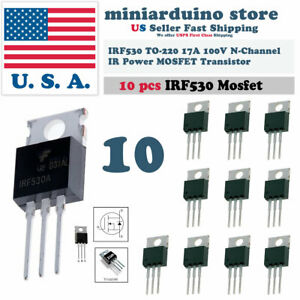 10pcs Irf530 ir Power Mosfet N channel 17a 100v Transistor
