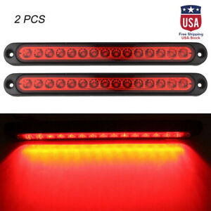 2pc 10 15 Led Red Sealed Trailer Truck Rv Stop Tail Brake Turn Signal Light Bar