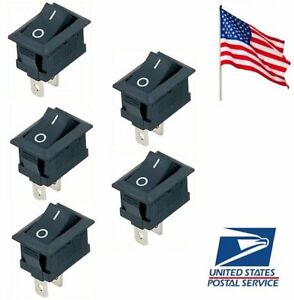 5 Pcs Black On off Switch Snap in Connectors 12v 110v 250v Kcd1 101 Us Ship