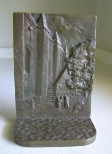 Arts Crafts Solid Bronze Bookend Mission Monastery Scene