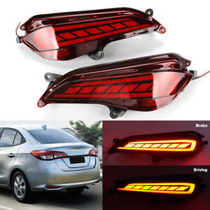 2x Red Car Led Rear Bumper Lights Brake Stop Lamp For Toyota Yaris 2017 2018