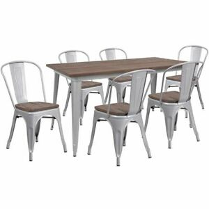 Modern 30 25 X 60 Silver Metal Table Set W wood Top 6 Stack Chairs