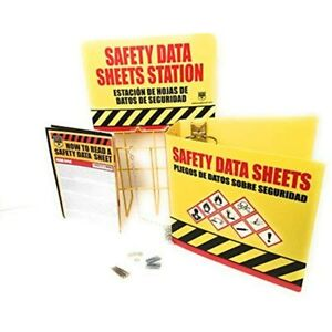 Sds Display Rack Set With 3 Heavy Duty Ring Binder Wire Rack Station Sign