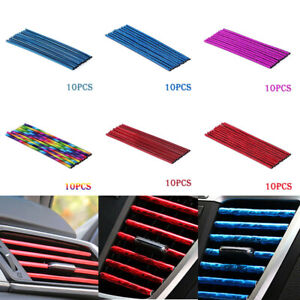 10 Auto Car Colorful Air Conditioner Air Outlet Decoration Strip Accessories