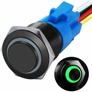 Mxuteuk 19mm High Round Cap Latching Push Button Switch No Nc Spdt On off Black