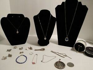 925 Sterling Silver Mostly Wearable Earrings Necklaces Coin Ring 4 Oz Mixed Lot