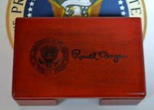 Official Reagan Presidential Seal Business Card Holder desk top rosewood signed