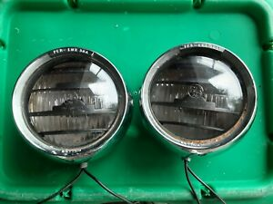 2 Vintage Per Lux 36a Driving Fog Lights Lamps Louvered Style Working