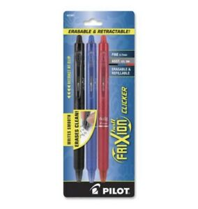 Pilot Frixion Clicker Erasable Gel Pens Fine Point Assorted Colored Ink 3ct