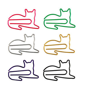 20pcs Cartoon Animal Paper Clips Cute Cat Shape Bookmarks Clip For Office School