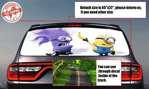 Funny Minions Gru Dru Rear Window Tint Perforated Decals Printed Vinyl Car Auto