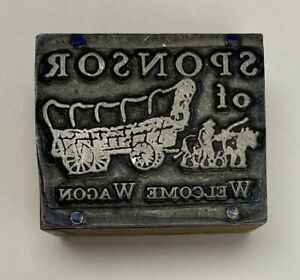 vintage Welcome Wagon Letterpress Printers Block Zinc Plate On Solid Wood