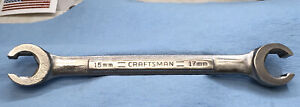 Craftsman Metric Flare Nut Line Wrench Sizes 15mm X 17mm Model 44178 Usa
