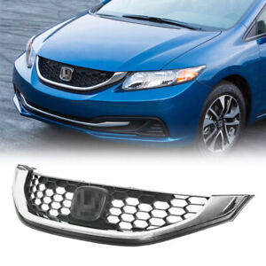 For 2013 2015 Honda Civic Sedan 4dr Chrome Honeycomb Grille Grill Replacement