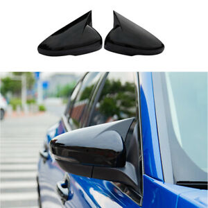 For Ford Focus 2019 2020 Abs Black Ox Horn Rear View Side Mirror Cover Trim 2pcs