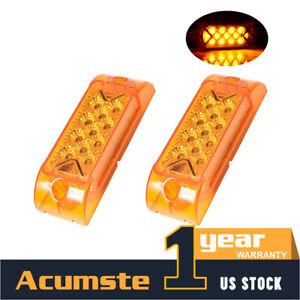 2x 13 Led Amber 6 X 2 Rectangle Side Marker Turn Signal Light 12v Trailer Truck