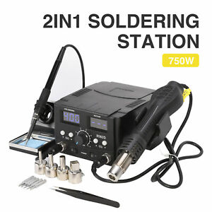 Soldering Iron And Hot Air Gun 2 In 1 Smd Rework Soldering Station Tool Kit