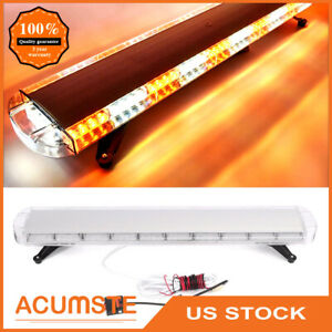 48 88 Led Emergency Strobe Light Bar Amber White Warning Tow Truck Snow Plow Us