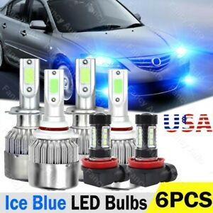 For Mazda 3 2004 2005 2006 6x Led Headlight Bulbs Fog Light Combo Kit 8000k