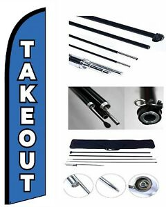 New Takeout Feather Windless Business Flag Pole Stake Kit Advertising