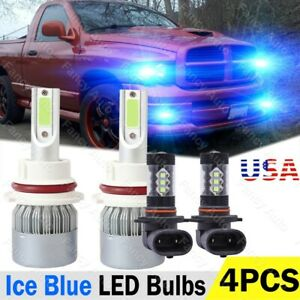 For Dodge Ram 1500 2500 3500 2002 2005 Ice Blue Led Headlight Fog Light Bulbs 4x