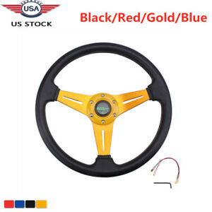 Jdm Sport Racing 340mm Deep Dish Leather 6 Bolt Steering Wheel With Horn Button