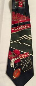 Coca Cola Football Field Goal Mens Tie Embossed Black/Red/Green