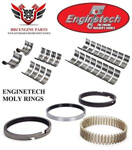Chevy Chevrolet 327 350 68 95 Enginetech Rod Main Bearings Moly Piston Rings