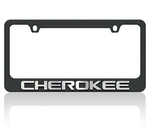 New Black Carbon Steel Jeep Cherokee Mirror Word License Plate Frame