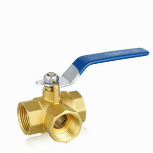 Fixed Brass 3 Way Ball Valve 1 2 Dn15 Full L port Thread Connector