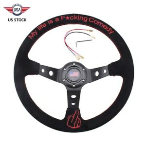 Racing 14 Suede Leather Steering Wheel Red Embroidery Deep Dish 95mm Drifting