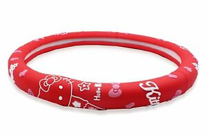 Finex Silicone Hello Kitty Auto Car Steering Wheel Cover Red Universal Fit