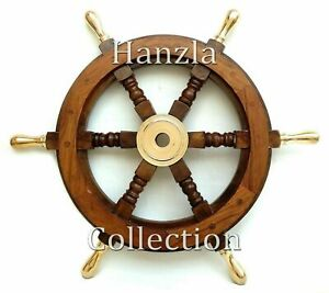 Solid Brass Handle 18 Wooden Helm Ship Wheel Boat Steering Antique Wall Decor