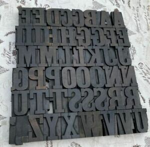 A z Alphabet 2 52 Letterpress Wooden Printing Blocks Wood Type Vintage Printer