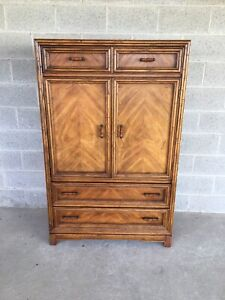 Century Chair Company Faux Bamboo Armoire Wardrobe Cabinet