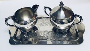 Vintage F B Rogers Silverplated Sugar Creamer Set W Tray In Mint Condition
