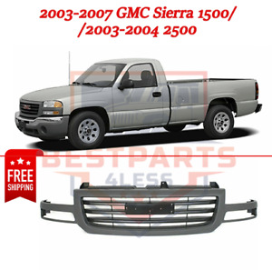 Grille Assembly Silver Plastic For 2003 2007 Gmc Sierra 1500 2003 2004 2500