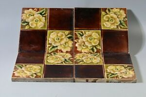 4x Antique Victorian Flaxman Moulded Majolica Glazed Aesthetic Tile