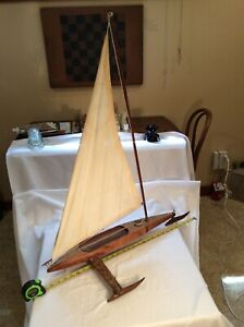 Vintage Rare Handcrafted Pond Ice Sail Boat Model W Rigging 29 Long X 35 Tall