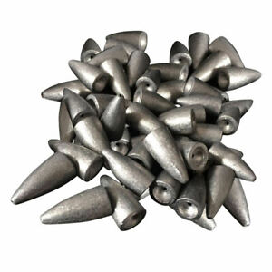 50pcs Fishing Bullet Streamlined Shape Lead Sinkers Bass Casting Weights $14.46