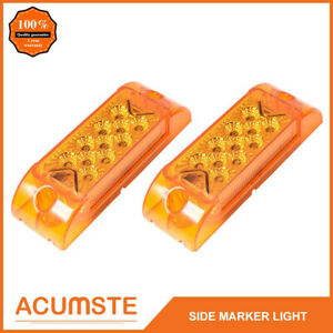 2x 6 X2 Amber 13 Led Rectangle Surface Mount Side Marker Park Turn Signal Light