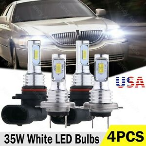 4x 9005 H7 Led Headlight Hi low Beam Combo Bulbs For Lincoln Town Car 2003 2011