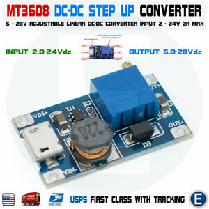 Mt3608 Micro Usb Dc dc Voltage Step Up Adjustable Boost Converter Module 2a 2 24