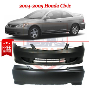 New Bumper Cover Without Fog Light Holes For 2004 2005 Honda Civic 2 door Coupe