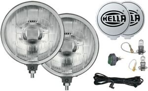 Hella Black Magic 500 Driving Light Lamp Kit With 2 Lights Covers Wiring Kit New