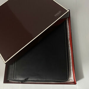New Coach Black Leather Executive Portfolio Notebook Organizer Zip Around 11x13