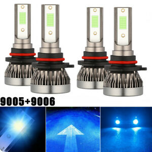 Combo 9005 9006 Ice Blue 8000k Cob Led Headlight Kit Bulbs High Low Beam Us