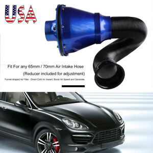 Universal Apollo 70mm Cold Air Intake System Air Filter Kit Blue Red With Logo