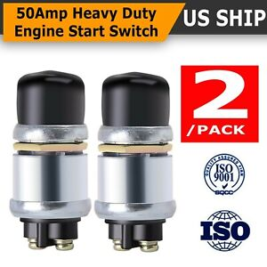 2 Pack 50a 12v Waterproof Car Boat Switch Horn Engine Push Buttons Start Starter